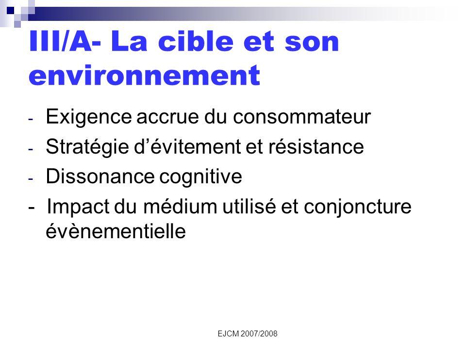 EJCM 2007/2008 III/A- La cible et son environnement - Exigence accrue du consommateur - Stratégie dévitement et résistance - Dissonance cognitive - Impact du médium utilisé et conjoncture évènementielle