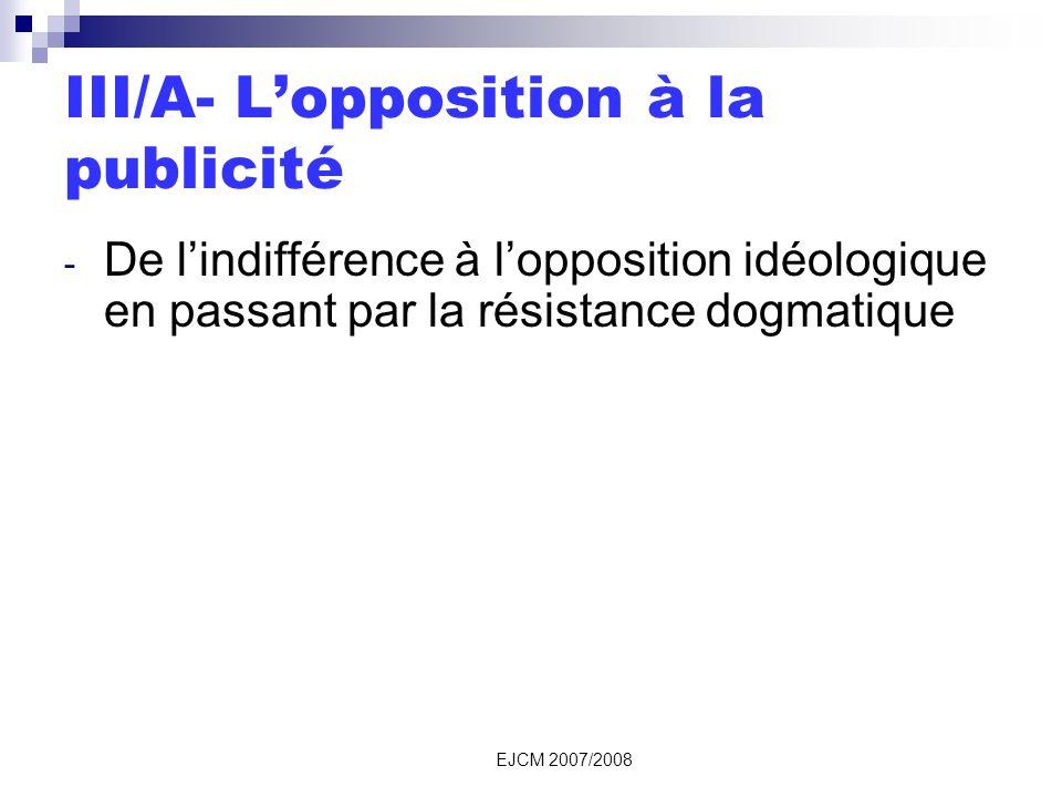 EJCM 2007/2008 III/A- Lopposition à la publicité - De lindifférence à lopposition idéologique en passant par la résistance dogmatique