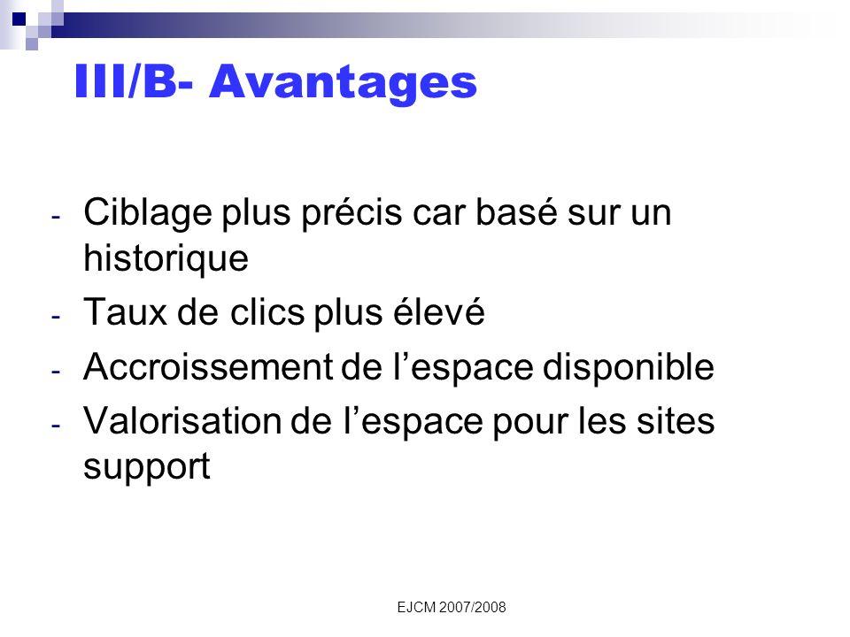 EJCM 2007/2008 III/B- Avantages - Ciblage plus précis car basé sur un historique - Taux de clics plus élevé - Accroissement de lespace disponible - Valorisation de lespace pour les sites support