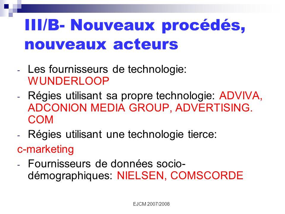 EJCM 2007/2008 III/B- Nouveaux procédés, nouveaux acteurs - Les fournisseurs de technologie: WUNDERLOOP - Régies utilisant sa propre technologie: ADVIVA, ADCONION MEDIA GROUP, ADVERTISING.