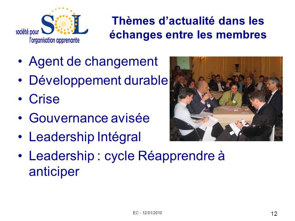 EC - 12/01/2010 12 Thèmes dactualité dans les échanges entre les membres Agent de changement Développement durable Crise Gouvernance avisée Leadership