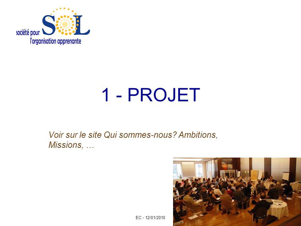 EC - 12/01/2010 2 1 - PROJET Voir sur le site Qui sommes-nous? Ambitions, Missions, …