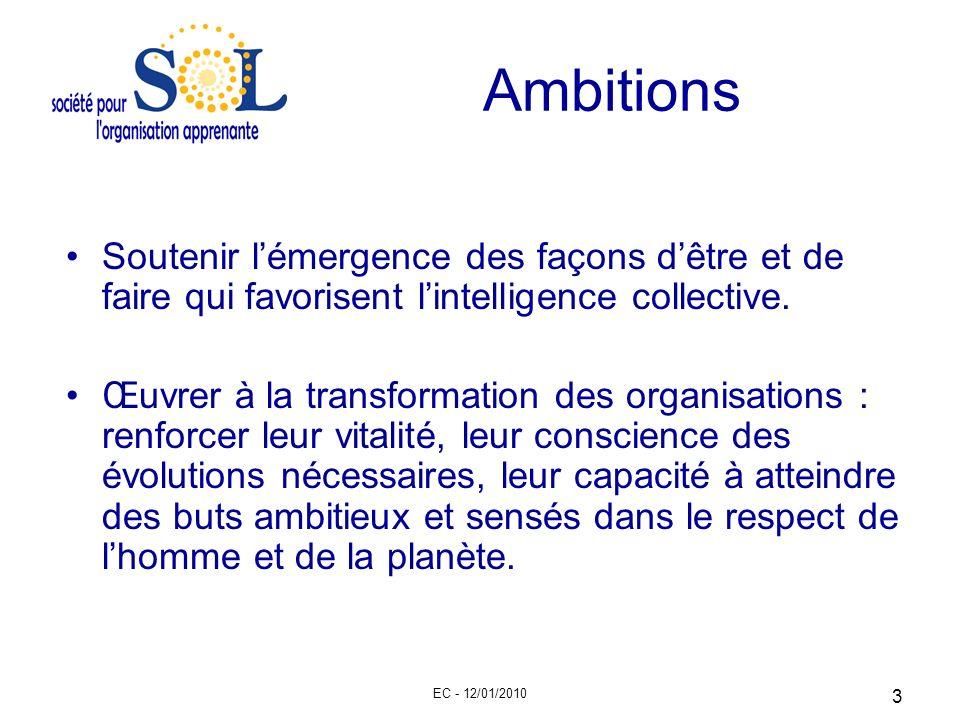 EC - 12/01/2010 3 Ambitions Soutenir lémergence des façons dêtre et de faire qui favorisent lintelligence collective. Œuvrer à la transformation des o
