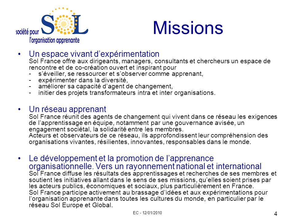 EC - 12/01/2010 4 Missions Un espace vivant dexpérimentation Sol France offre aux dirigeants, managers, consultants et chercheurs un espace de rencont