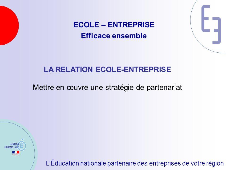 LÉducation nationale partenaire des entreprises de votre région ECOLE – ENTREPRISE Efficace ensemble LA RELATION ECOLE-ENTREPRISE Mettre en œuvre une