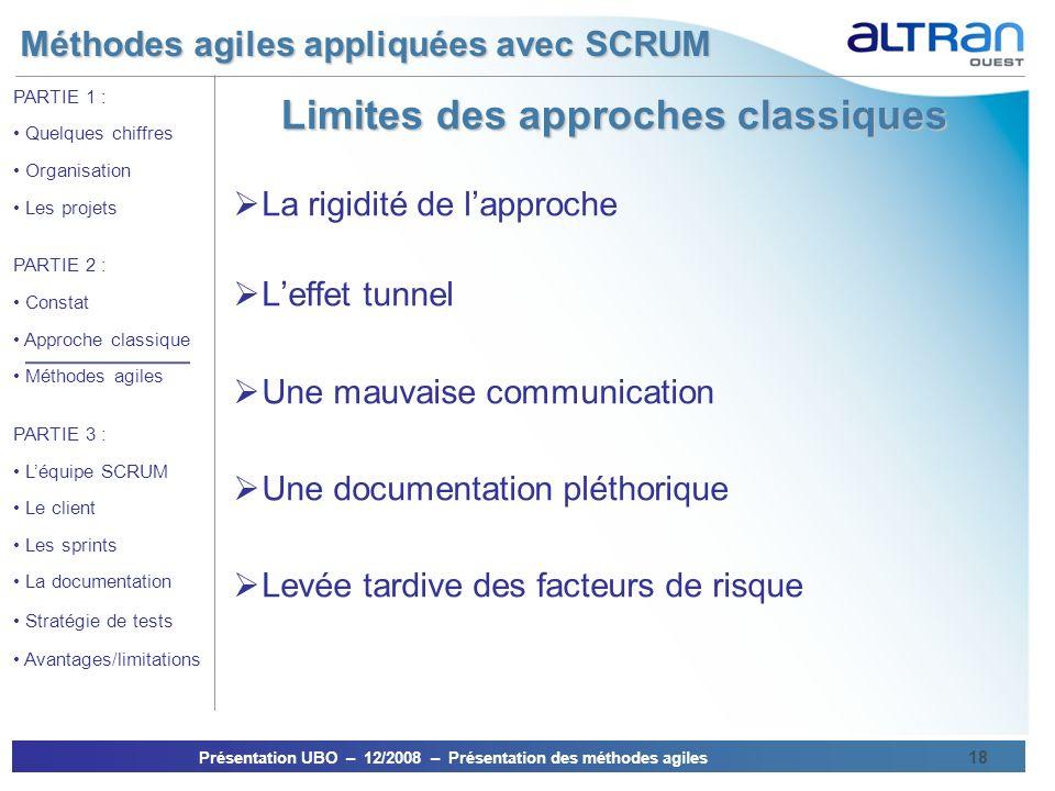 Méthodes agiles appliquées avec SCRUM Présentation UBO – 12/2008 – Présentation des méthodes agiles 18 PARTIE 1 : Quelques chiffres Organisation Les p