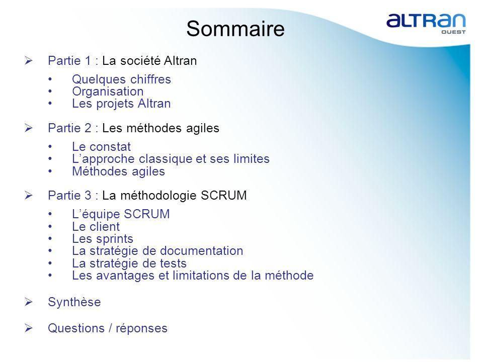 Sommaire Partie 1 : La société Altran Quelques chiffres Organisation Les projets Altran Partie 2 : Les méthodes agiles Le constat Lapproche classique