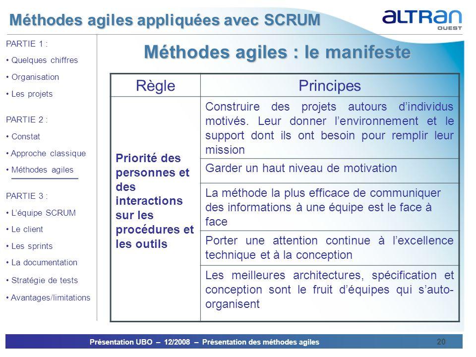 Méthodes agiles appliquées avec SCRUM Présentation UBO – 12/2008 – Présentation des méthodes agiles 20 PARTIE 1 : Quelques chiffres Organisation Les p