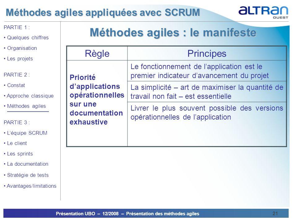 Méthodes agiles appliquées avec SCRUM Présentation UBO – 12/2008 – Présentation des méthodes agiles 21 PARTIE 1 : Quelques chiffres Organisation Les p