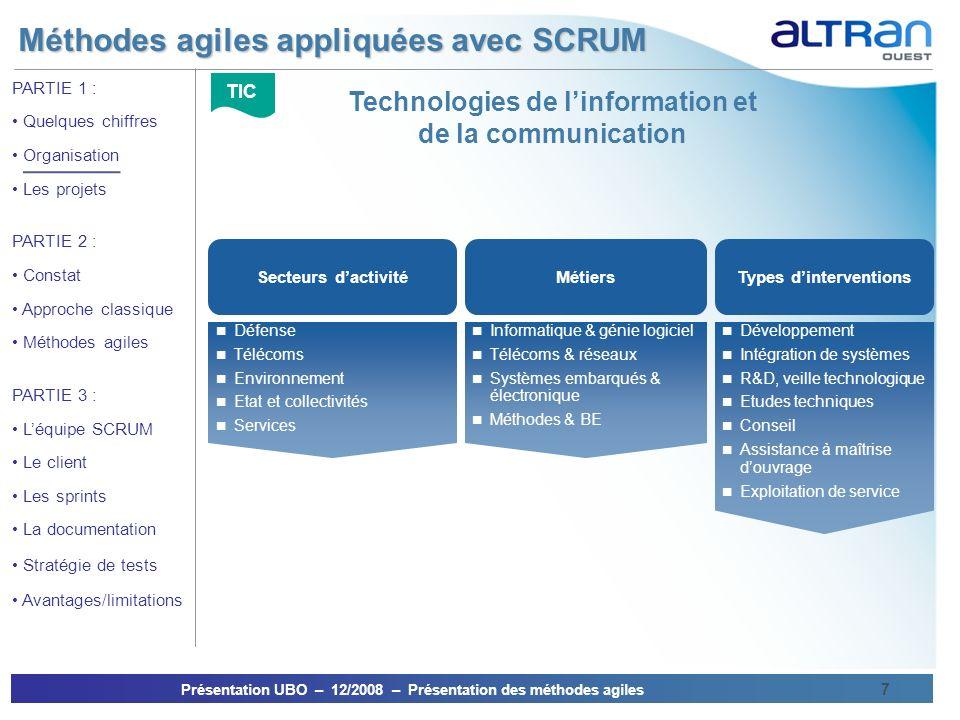 Méthodes agiles appliquées avec SCRUM Présentation UBO – 12/2008 – Présentation des méthodes agiles 7 PARTIE 1 : Quelques chiffres Organisation Les pr