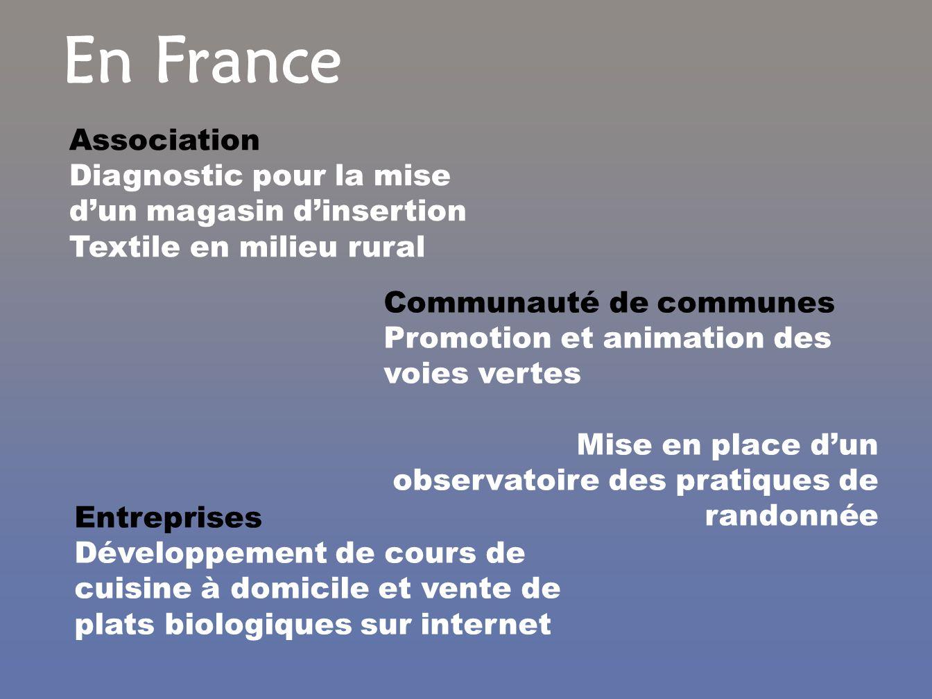 En France Association Diagnostic pour la mise dun magasin dinsertion Textile en milieu rural Communauté de communes Promotion et animation des voies v