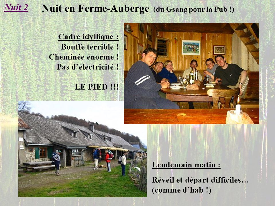 Nuit en Ferme-Auberge (du Gsang pour la Pub !) Nuit 2 Cadre idyllique : Bouffe terrible ! Cheminée énorme ! Pas délectricité ! LE PIED !!! Lendemain m