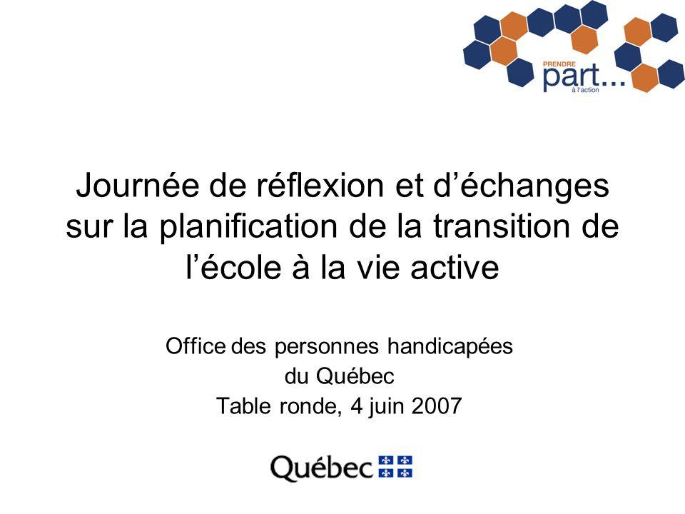 Journée de réflexion et déchanges sur la planification de la transition de lécole à la vie active Office des personnes handicapées du Québec Table ron