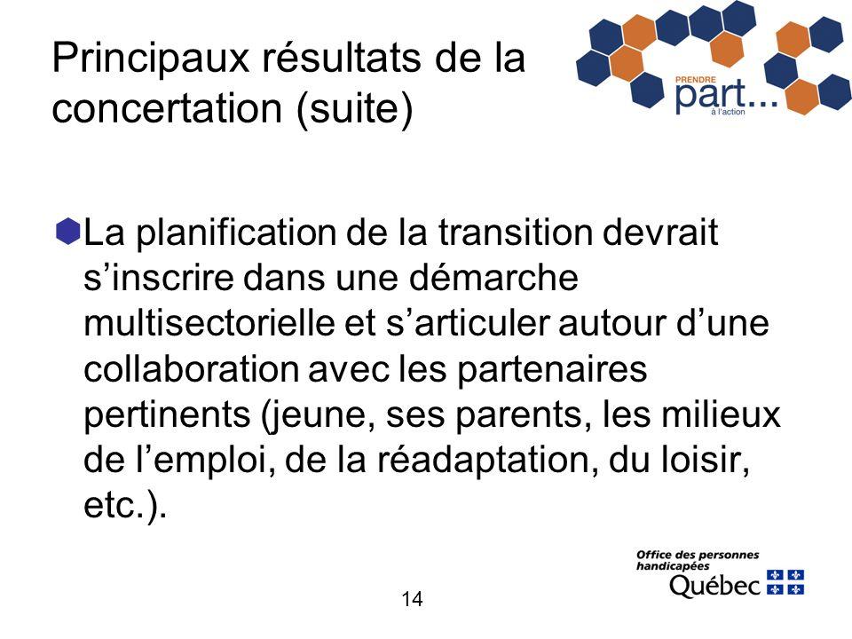14 Principaux résultats de la concertation (suite) La planification de la transition devrait sinscrire dans une démarche multisectorielle et sarticule