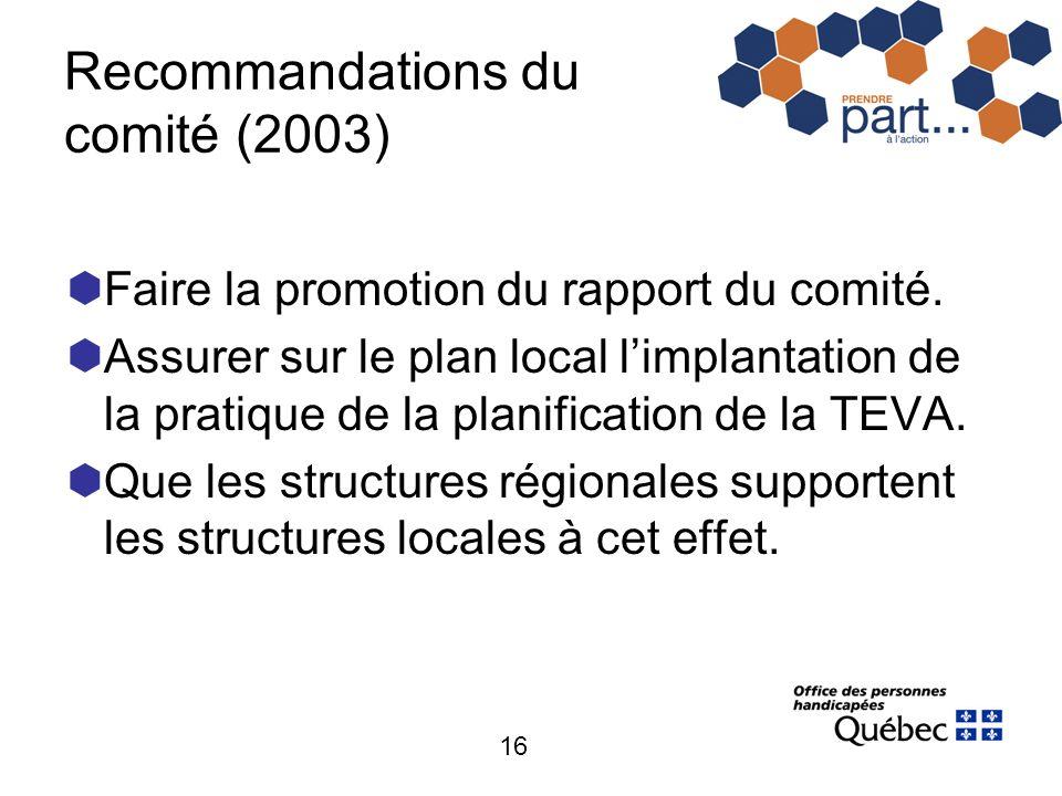 16 Recommandations du comité (2003) Faire la promotion du rapport du comité. Assurer sur le plan local limplantation de la pratique de la planificatio