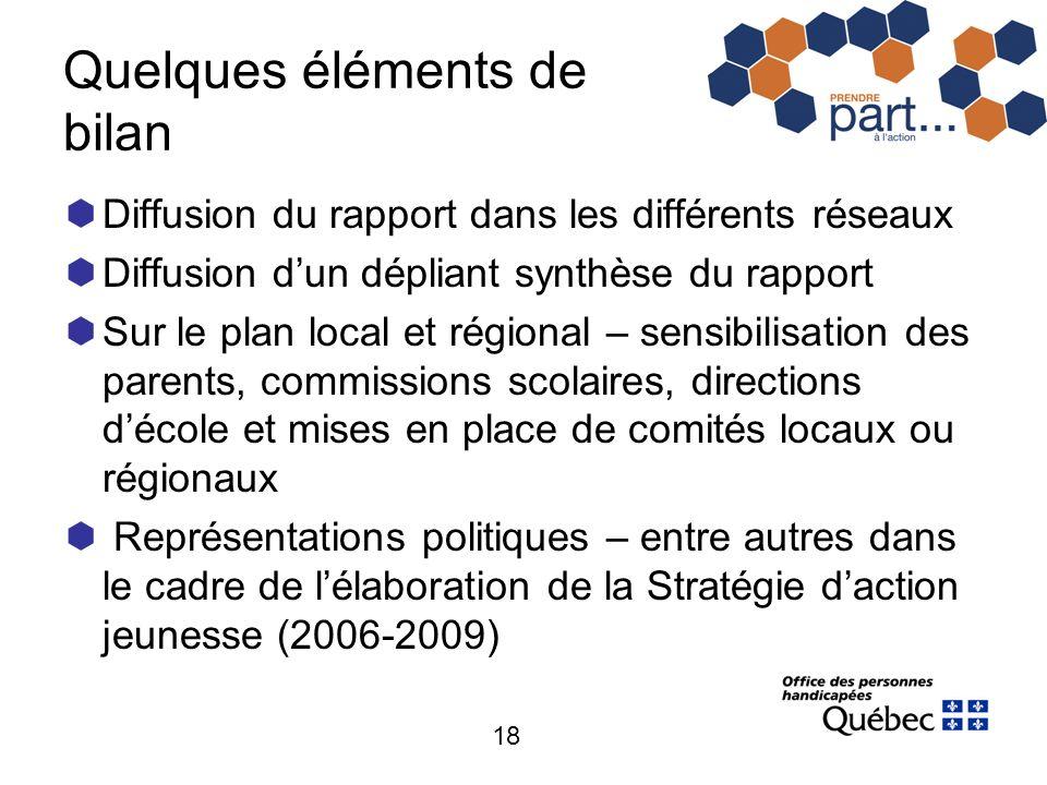 18 Quelques éléments de bilan Diffusion du rapport dans les différents réseaux Diffusion dun dépliant synthèse du rapport Sur le plan local et régiona