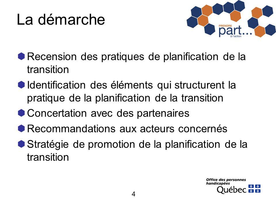 4 La démarche Recension des pratiques de planification de la transition Identification des éléments qui structurent la pratique de la planification de