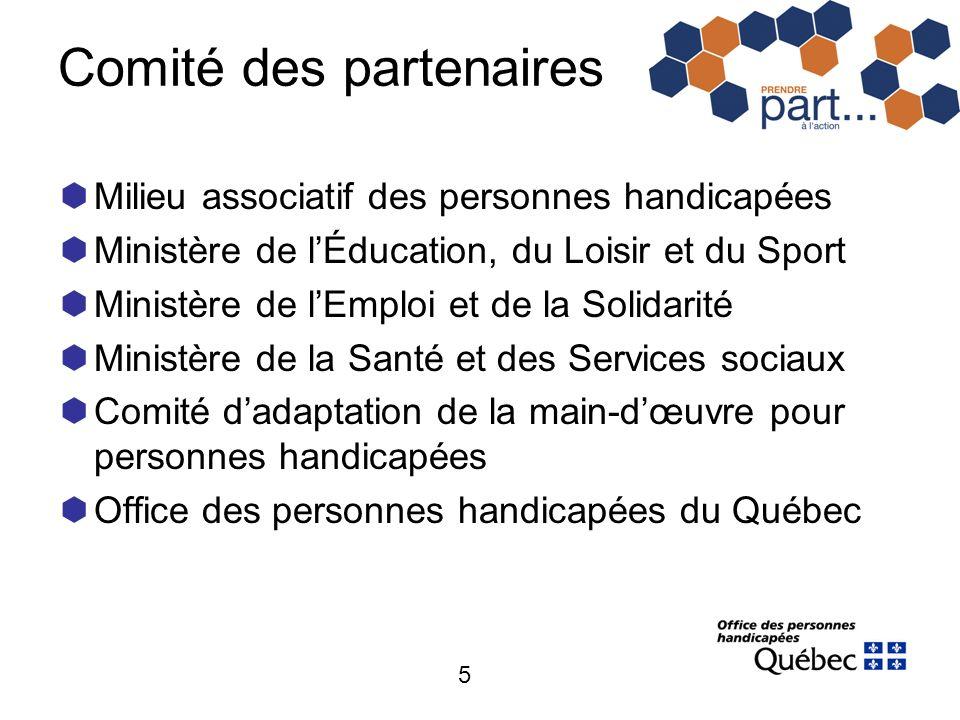 5 Comité des partenaires Milieu associatif des personnes handicapées Ministère de lÉducation, du Loisir et du Sport Ministère de lEmploi et de la Soli
