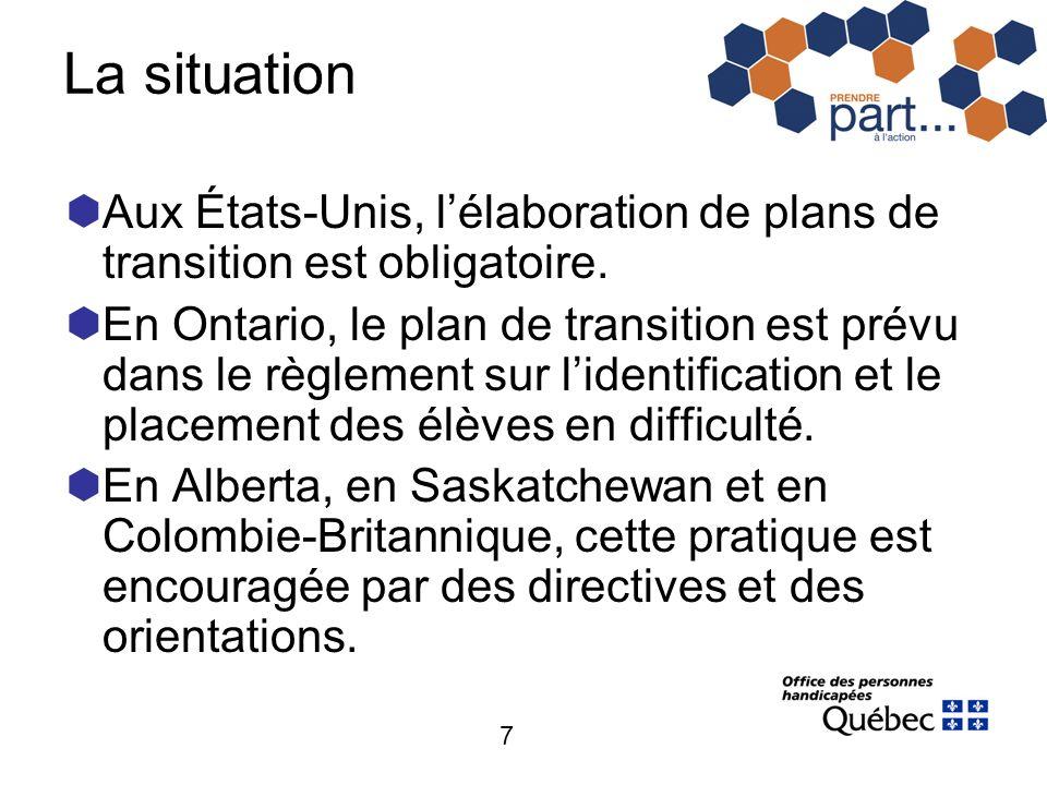 7 La situation Aux États-Unis, lélaboration de plans de transition est obligatoire. En Ontario, le plan de transition est prévu dans le règlement sur