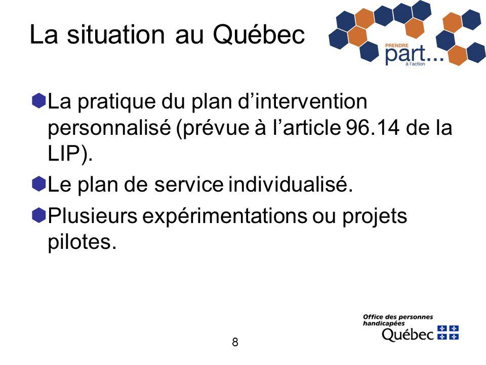 8 La situation au Québec La pratique du plan dintervention personnalisé (prévue à larticle 96.14 de la LIP). Le plan de service individualisé. Plusieu