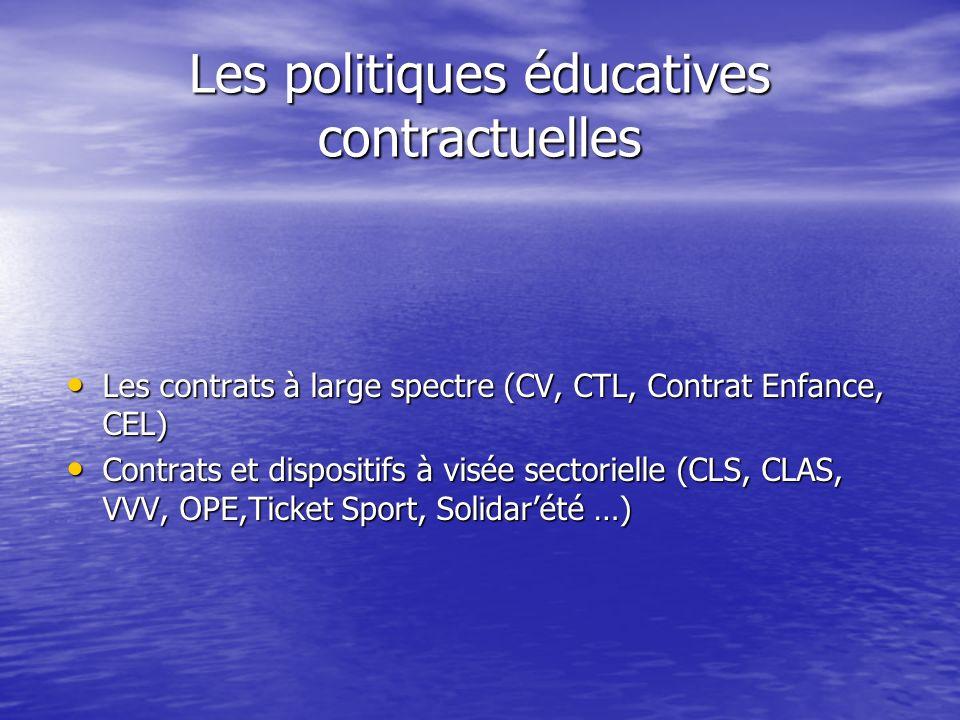 Les politiques éducatives contractuelles Les contrats à large spectre (CV, CTL, Contrat Enfance, CEL) Les contrats à large spectre (CV, CTL, Contrat Enfance, CEL) Contrats et dispositifs à visée sectorielle (CLS, CLAS, VVV, OPE,Ticket Sport, Solidarété …) Contrats et dispositifs à visée sectorielle (CLS, CLAS, VVV, OPE,Ticket Sport, Solidarété …)