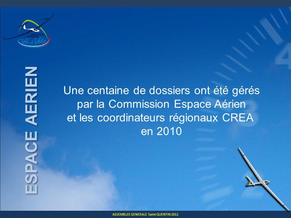 ASSEMBLEE GENERALE Saint QUENTIN 2011 ESPACE AERIEN Une centaine de dossiers ont été gérés par la Commission Espace Aérien et les coordinateurs régionaux CREA en 2010