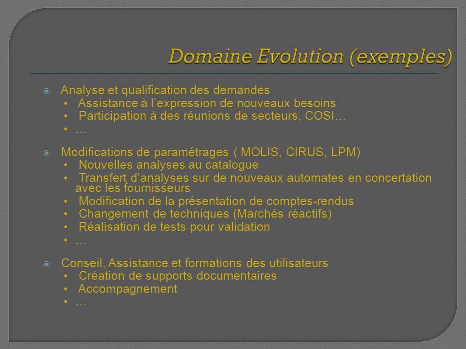 Analyse et qualification des demandes Assistance à lexpression de nouveaux besoins Participation à des réunions de secteurs, COSI… … Modifications de