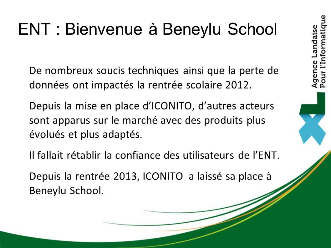 ENT : Bienvenue à Beneylu School De nombreux soucis techniques ainsi que la perte de données ont impactés la rentrée scolaire 2012.