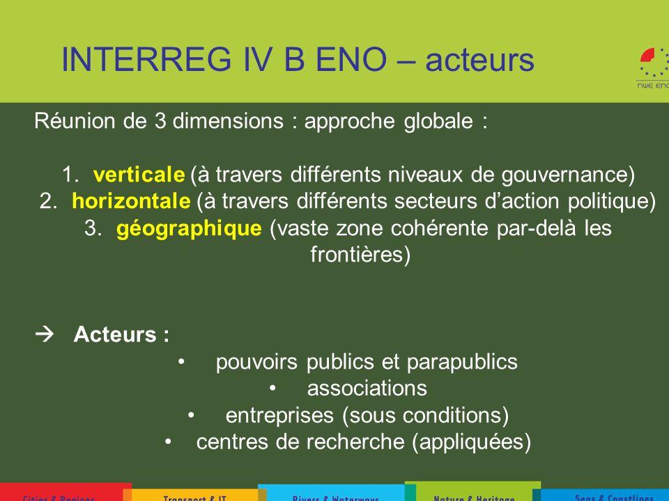 INTERREG IV B ENO – acteurs Réunion de 3 dimensions : approche globale : 1. verticale (à travers différents niveaux de gouvernance) 2. horizontale (à
