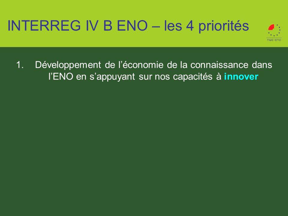 1.Développement de léconomie de la connaissance dans lENO en sappuyant sur nos capacités à innover INTERREG IV B ENO – les 4 priorités