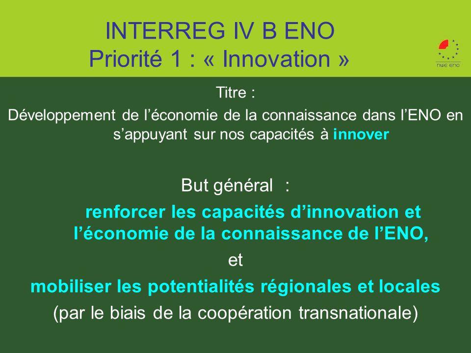 Titre : Développement de léconomie de la connaissance dans lENO en sappuyant sur nos capacités à innover But général : renforcer les capacités dinnova