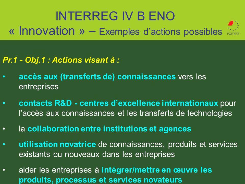 Pr.1 - Obj.1 : Actions visant à : accès aux (transferts de) connaissances vers les entreprises contacts R&D - centres dexcellence internationaux pour