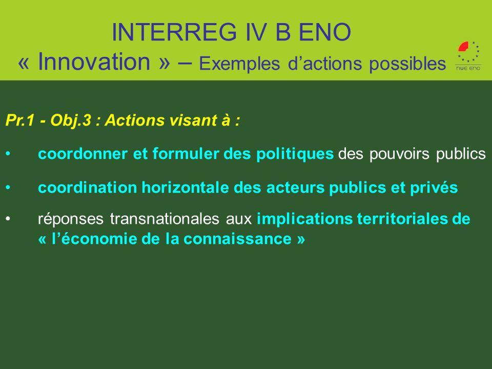 Pr.1 - Obj.3 : Actions visant à : coordonner et formuler des politiques des pouvoirs publics coordination horizontale des acteurs publics et privés ré