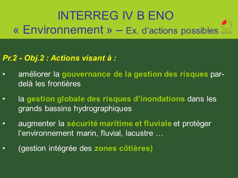 Pr.2 - Obj.2 : Actions visant à : améliorer la gouvernance de la gestion des risques par- delà les frontières la gestion globale des risques dinondati
