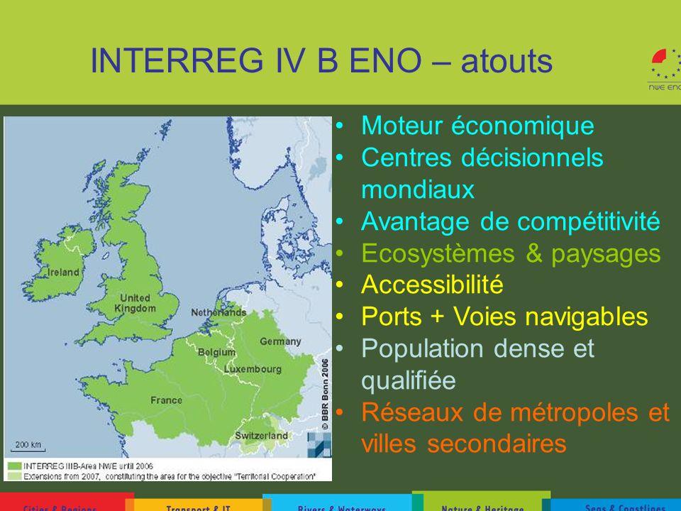 INTERREG IV B ENO – atouts Moteur économique Centres décisionnels mondiaux Avantage de compétitivité Ecosystèmes & paysages Accessibilité Ports + Voie