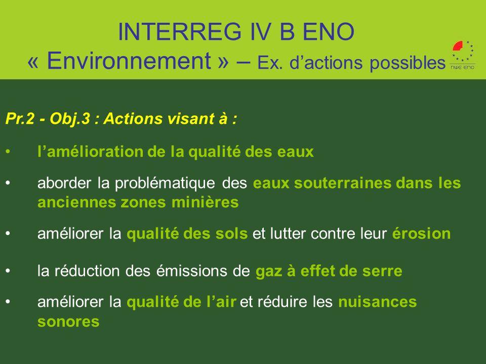 Pr.2 - Obj.3 : Actions visant à : lamélioration de la qualité des eaux aborder la problématique des eaux souterraines dans les anciennes zones minière