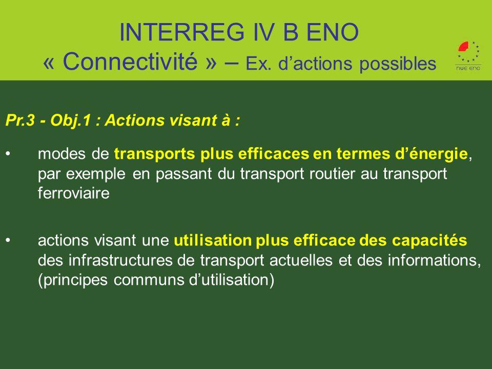 Pr.3 - Obj.1 : Actions visant à : modes de transports plus efficaces en termes dénergie, par exemple en passant du transport routier au transport ferr