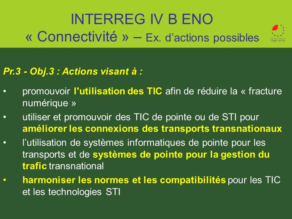 Pr.3 - Obj.3 : Actions visant à : promouvoir l'utilisation des TIC afin de réduire la « fracture numérique » utiliser et promouvoir des TIC de pointe