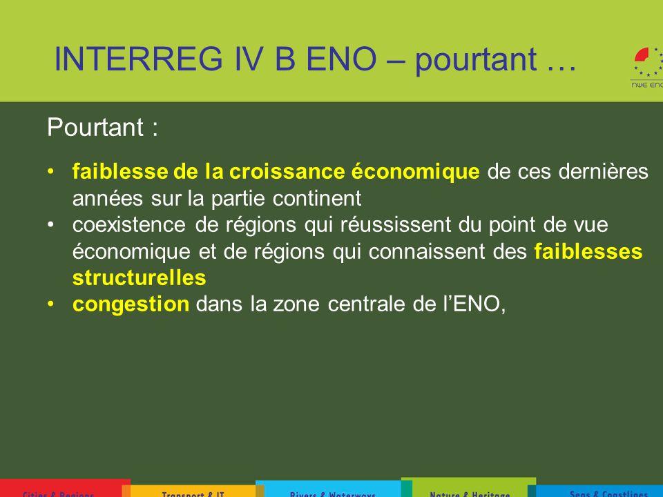 INTERREG IV B ENO – pourtant … Pourtant : faiblesse de la croissance économique de ces dernières années sur la partie continent coexistence de régions