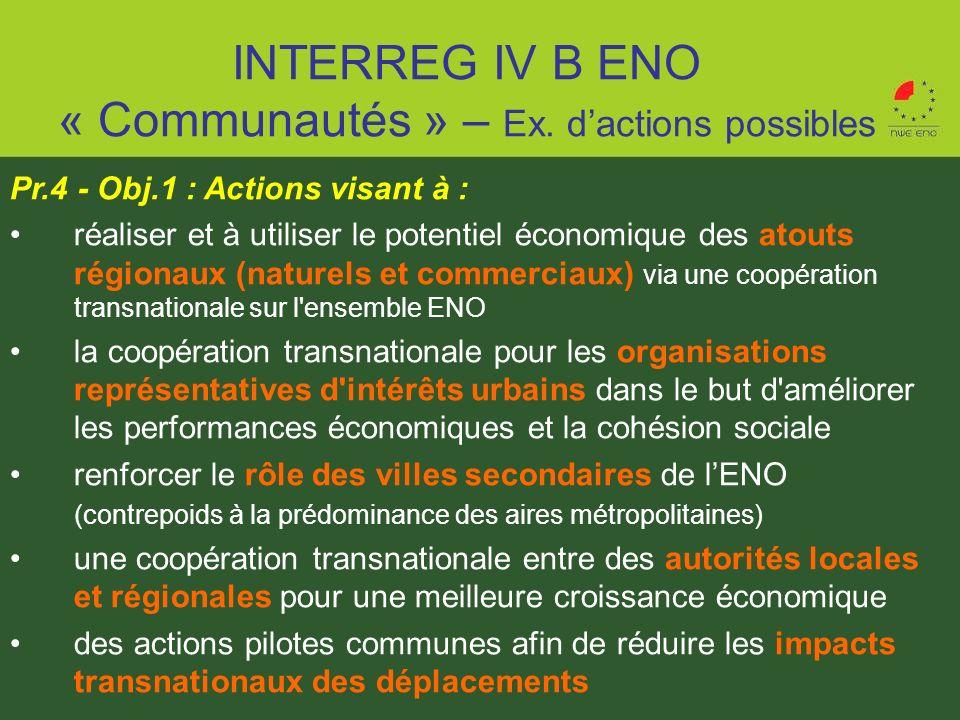 Pr.4 - Obj.1 : Actions visant à : réaliser et à utiliser le potentiel économique des atouts régionaux (naturels et commerciaux) via une coopération tr