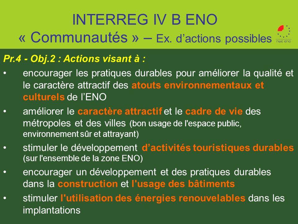 Pr.4 - Obj.2 : Actions visant à : encourager les pratiques durables pour améliorer la qualité et le caractère attractif des atouts environnementaux et
