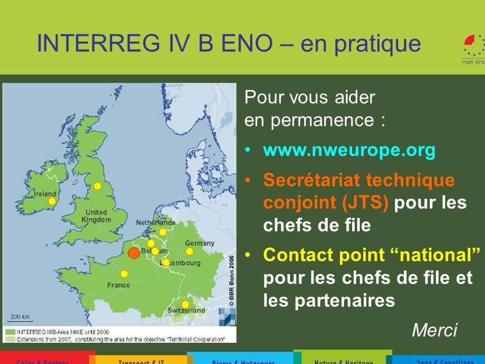 INTERREG IV B ENO – en pratique Pour vous aider en permanence : www.nweurope.org Secrétariat technique conjoint (JTS) pour les chefs de file Contact p