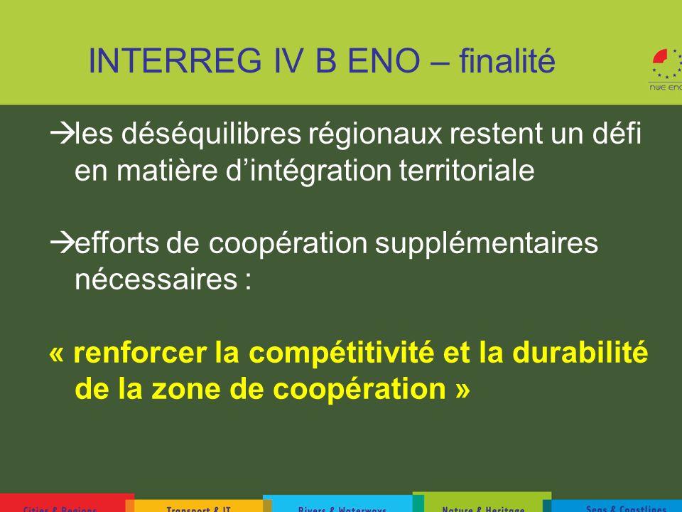 INTERREG IV B ENO – finalité les déséquilibres régionaux restent un défi en matière dintégration territoriale efforts de coopération supplémentaires n