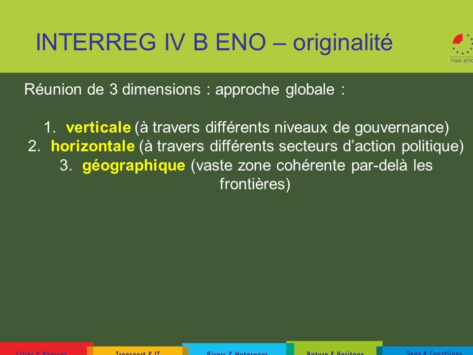 INTERREG IV B ENO – originalité Réunion de 3 dimensions : approche globale : 1. verticale (à travers différents niveaux de gouvernance) 2. horizontale
