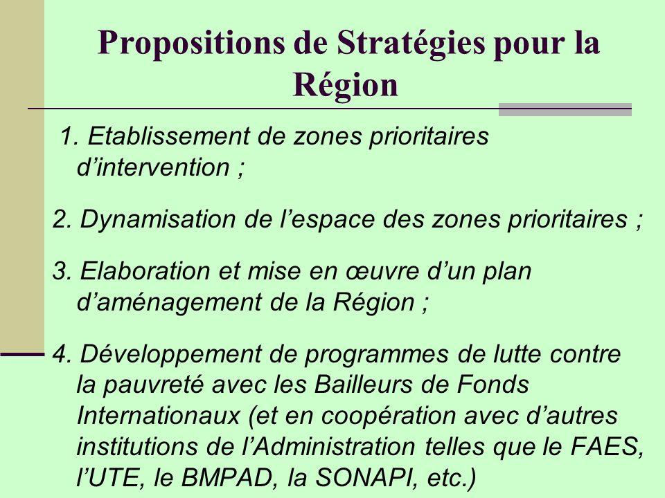 Propositions de Stratégies pour la Région 1.Etablissement de zones prioritaires dintervention ; 2.
