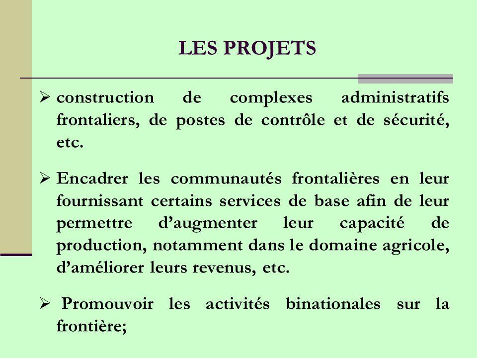 construction de complexes administratifs frontaliers, de postes de contrôle et de sécurité, etc.