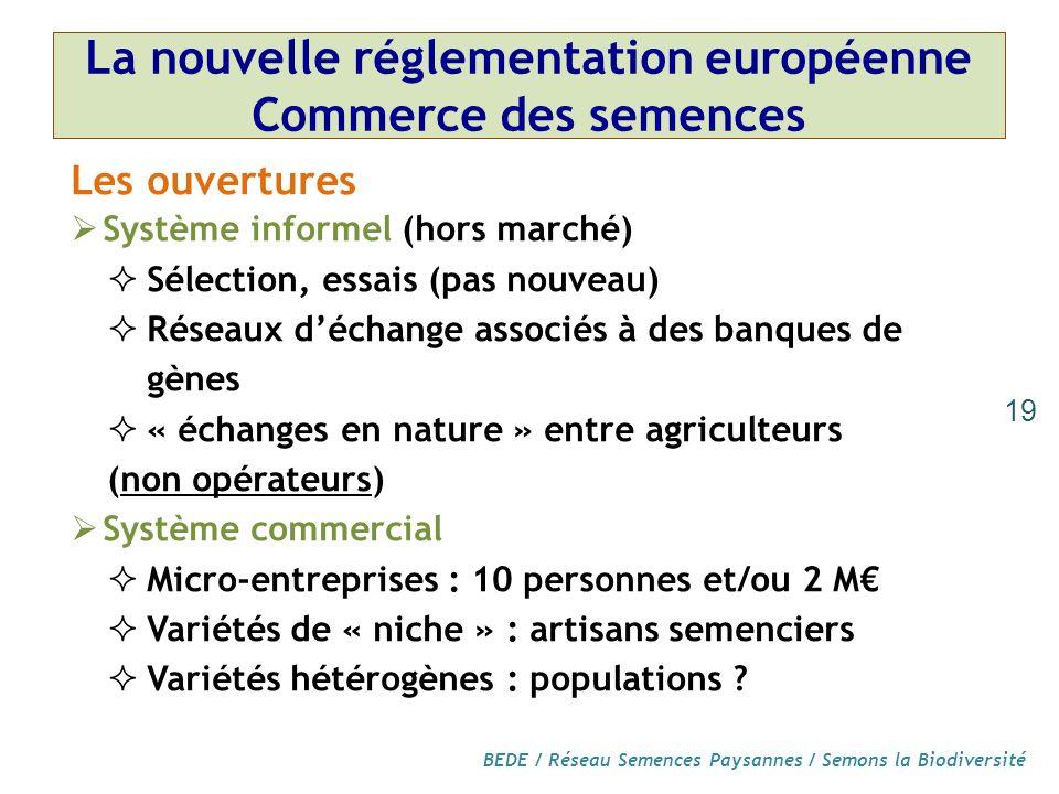 BEDE / Réseau Semences Paysannes / Semons la Biodiversité La nouvelle réglementation européenne Commerce des semences Les ouvertures Système informel (hors marché) Sélection, essais (pas nouveau) Réseaux déchange associés à des banques de gènes « échanges en nature » entre agriculteurs (non opérateurs) Système commercial Micro-entreprises : 10 personnes et/ou 2 M Variétés de « niche » : artisans semenciers Variétés hétérogènes : populations .