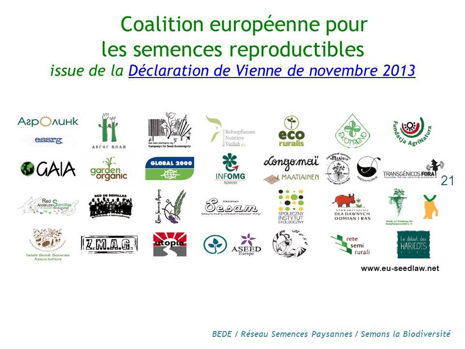 BEDE / Réseau Semences Paysannes / Semons la Biodiversité 21 Coalition européenne pour les semences reproductibles issue de la Déclaration de Vienne de novembre 2013Déclaration de Vienne de novembre 2013