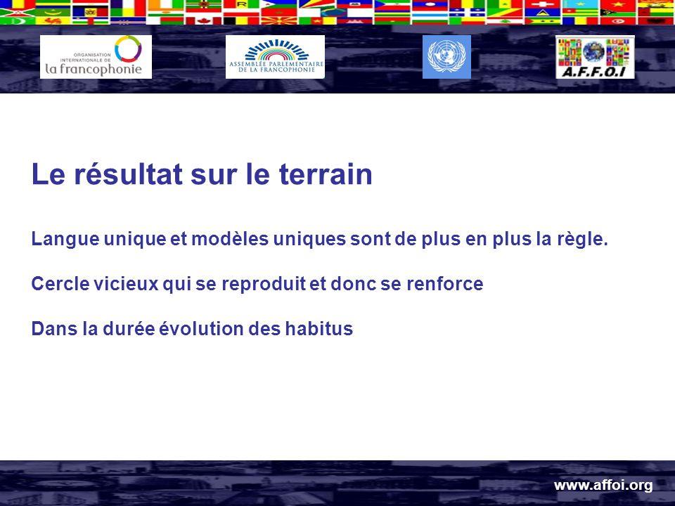 www.affoi.org Le résultat sur le terrain Langue unique et modèles uniques sont de plus en plus la règle.