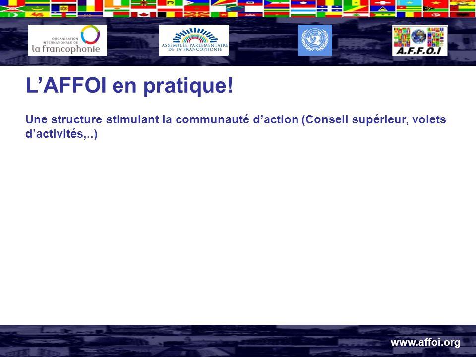 www.affoi.org LAFFOI en pratique! Une structure stimulant la communauté daction (Conseil supérieur, volets dactivités,..)